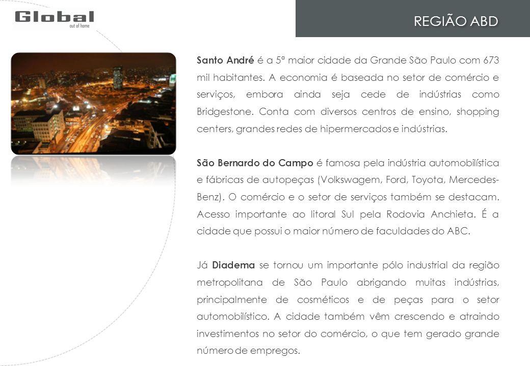 REGIÃO ABD Santo André é a 5ª maior cidade da Grande São Paulo com 673 mil habitantes. A economia é baseada no setor de comércio e serviços, embora ai