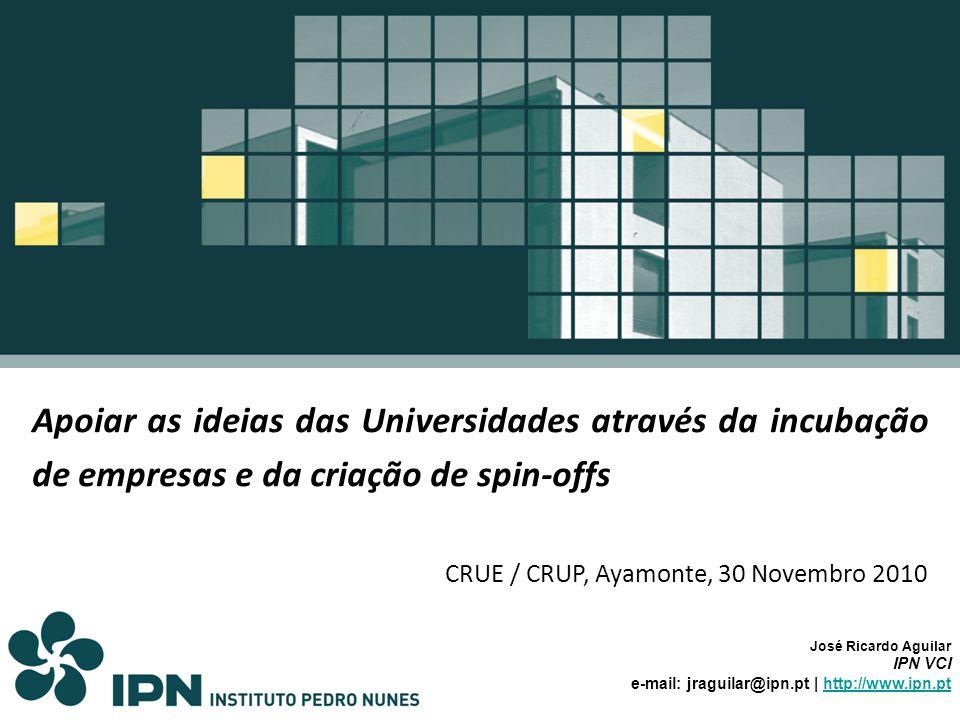 Apoiar as ideias das Universidades através da incubação de empresas e da criação de spin-offs CRUE / CRUP, Ayamonte, 30 Novembro 2010 José Ricardo Agu