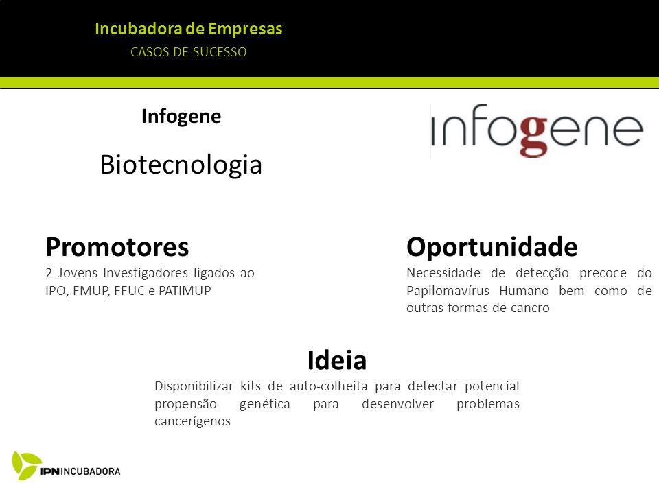 Incubadora de Empresas CASOS DE SUCESSO Infogene Biotecnologia Ideia Disponibilizar kits de auto-colheita para detectar potencial propensão genética p
