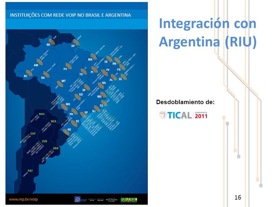 Integración con Argentina (RIU) 16 Desdoblamiento de: