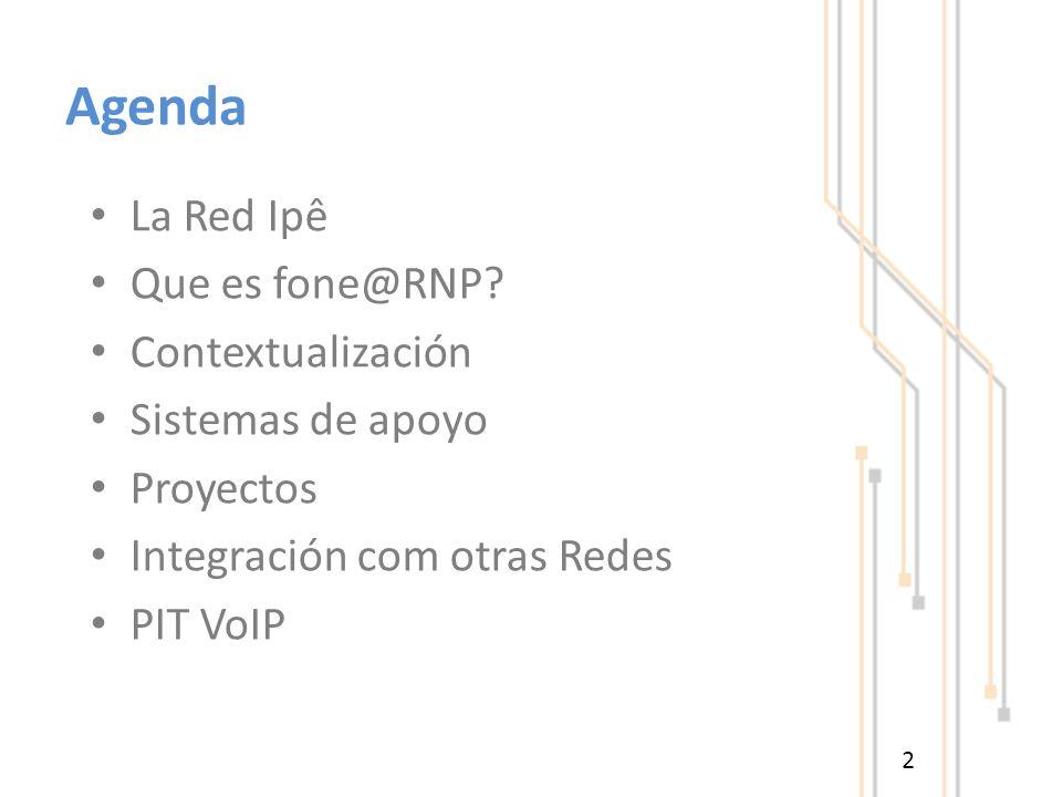 Agenda La Red Ipê Que es fone@RNP? Contextualización Sistemas de apoyo Proyectos Integración com otras Redes PIT VoIP 2