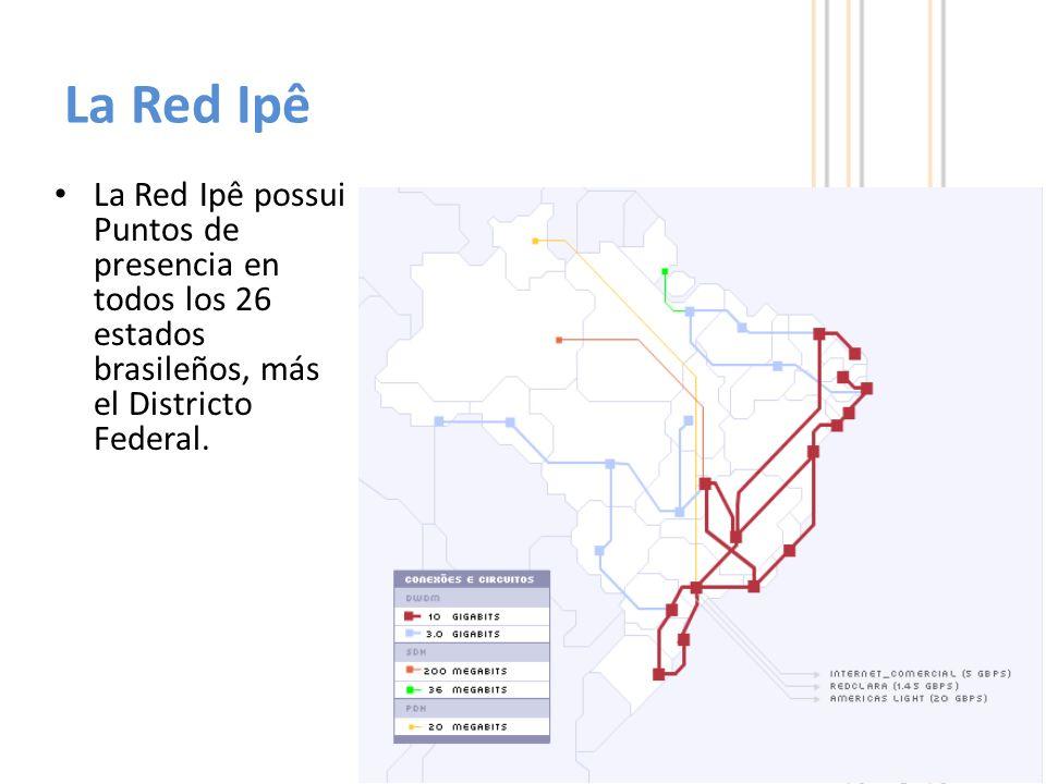 4 La Red Ipê possui Puntos de presencia en todos los 26 estados brasileños, más el Districto Federal.