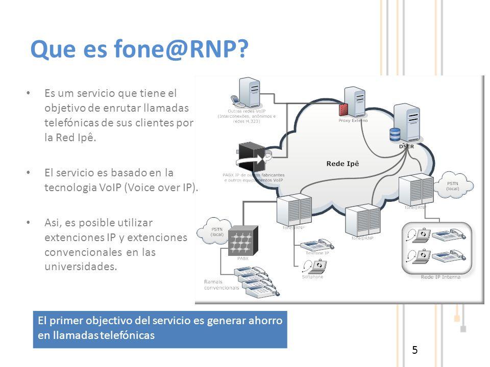 Que es fone@RNP? 5 Es um servicio que tiene el objetivo de enrutar llamadas telefónicas de sus clientes por la Red Ipê. El servicio es basado en la te