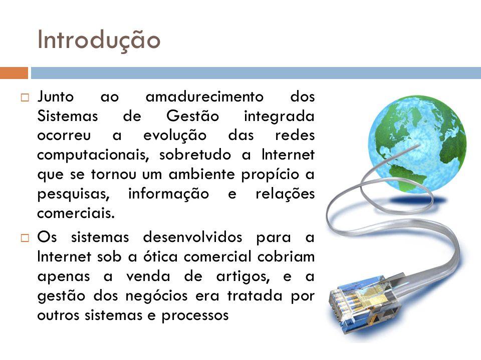Introdução Junto ao amadurecimento dos Sistemas de Gestão integrada ocorreu a evolução das redes computacionais, sobretudo a Internet que se tornou um ambiente propício a pesquisas, informação e relações comerciais.