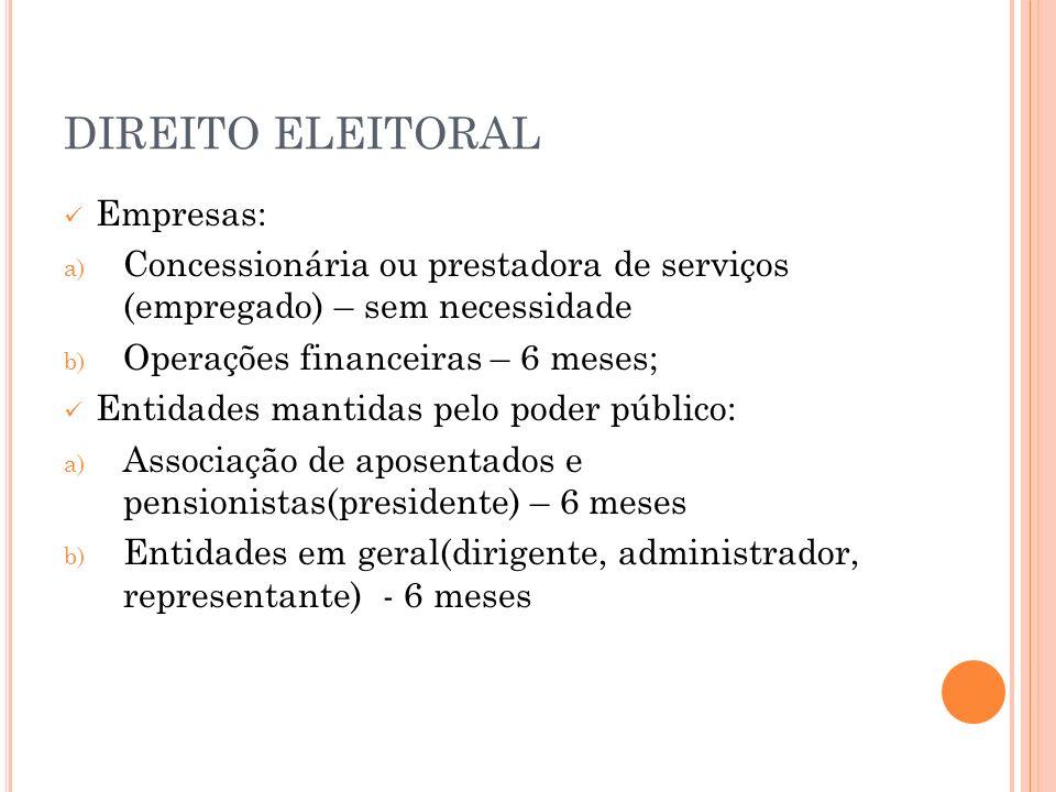 DIREITO ELEITORAL Empresas: a) Concessionária ou prestadora de serviços (empregado) – sem necessidade b) Operações financeiras – 6 meses; Entidades ma