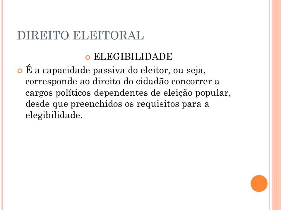 DIREITO ELEITORAL ELEGIBILIDADE É a capacidade passiva do eleitor, ou seja, corresponde ao direito do cidadão concorrer a cargos políticos dependentes