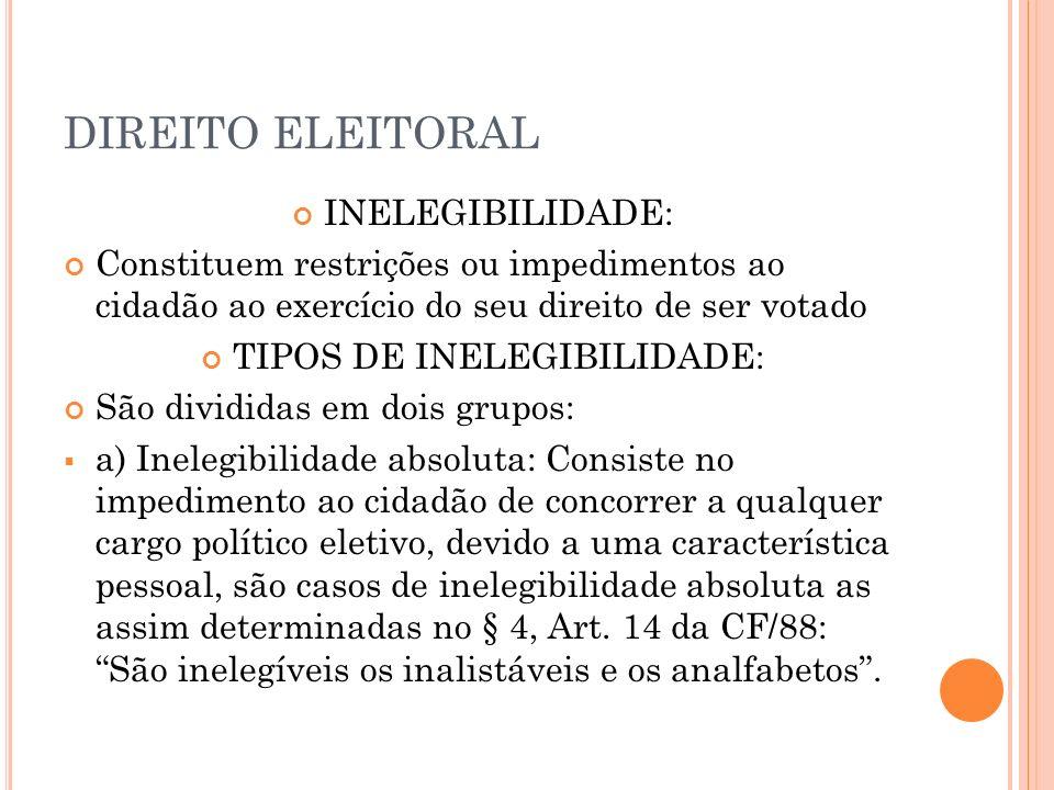DIREITO ELEITORAL b) Inelegibilidade relativa: O impedimento ao direito de ser votado, não mais é devido a uma característica pessoal do cidadão, mas sim de uma determinada situação existente, como motivo de parentesco, funcional ou mesmo de domicilio, no momento da formalização do pedido de registro