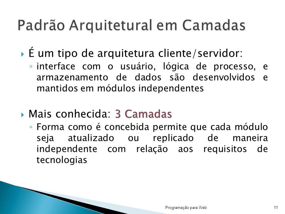É um tipo de arquitetura cliente/servidor: interface com o usuário, lógica de processo, e armazenamento de dados são desenvolvidos e mantidos em módul