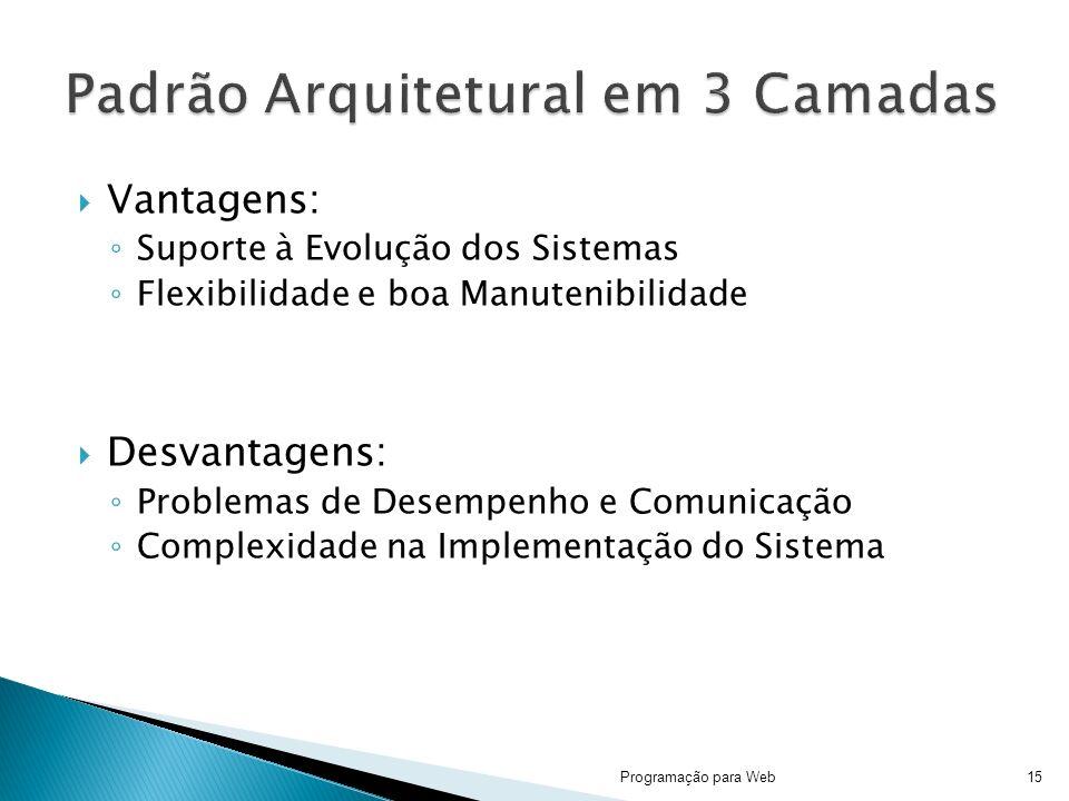 Vantagens: Suporte à Evolução dos Sistemas Flexibilidade e boa Manutenibilidade Desvantagens: Problemas de Desempenho e Comunicação Complexidade na Im
