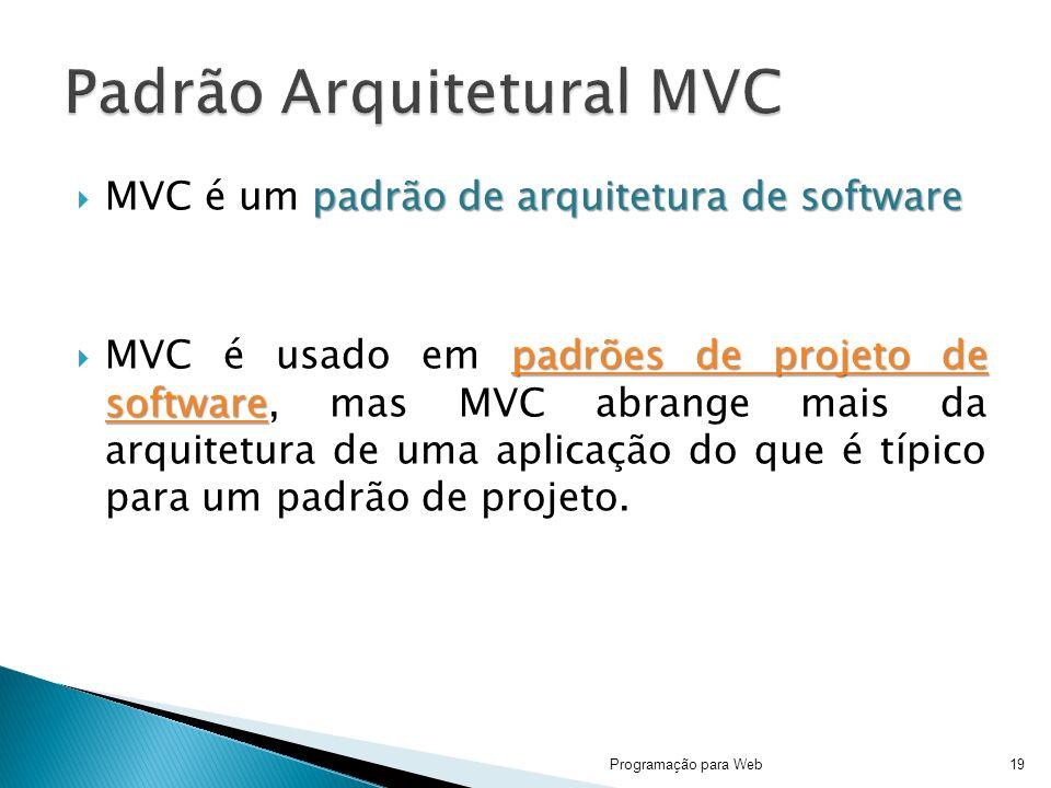 padrão de arquitetura de software MVC é um padrão de arquitetura de software padrões de projeto de software padrões de projeto de software MVC é usado em padrões de projeto de software, mas MVC abrange mais da arquitetura de uma aplicação do que é típico para um padrão de projeto.padrões de projeto de software Programação para Web19