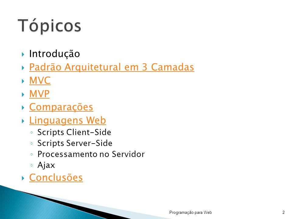 Introdução Padrão Arquitetural em 3 Camadas MVC MVP Comparações Linguagens Web Scripts Client-Side Scripts Server-Side Processamento no Servidor Ajax