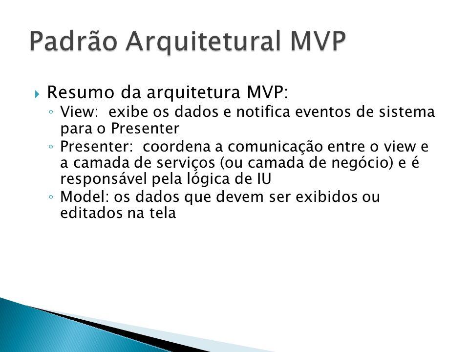 Resumo da arquitetura MVP: View: exibe os dados e notifica eventos de sistema para o Presenter Presenter: coordena a comunicação entre o view e a cama