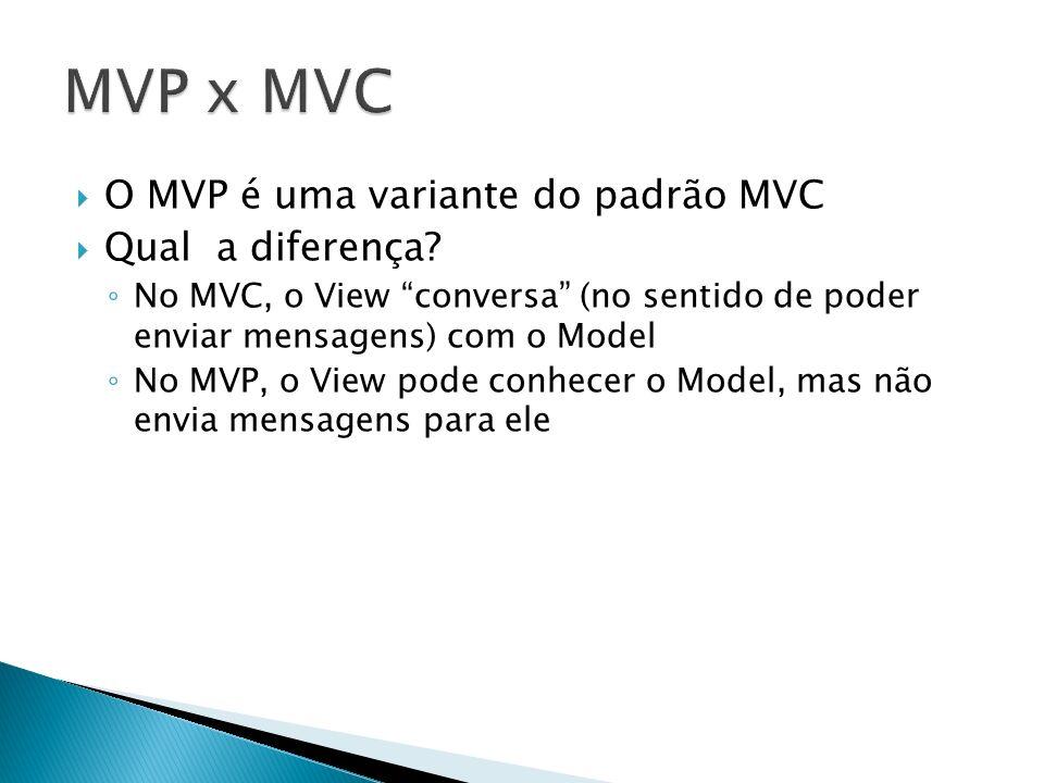 O MVP é uma variante do padrão MVC Qual a diferença? No MVC, o View conversa (no sentido de poder enviar mensagens) com o Model No MVP, o View pode co