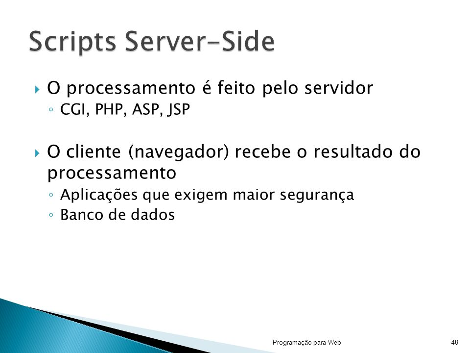 O processamento é feito pelo servidor CGI, PHP, ASP, JSP O cliente (navegador) recebe o resultado do processamento Aplicações que exigem maior segurança Banco de dados Programação para Web48