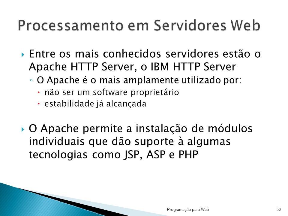 Entre os mais conhecidos servidores estão o Apache HTTP Server, o IBM HTTP Server O Apache é o mais amplamente utilizado por: não ser um software proprietário estabilidade já alcançada O Apache permite a instalação de módulos individuais que dão suporte à algumas tecnologias como JSP, ASP e PHP Programação para Web50
