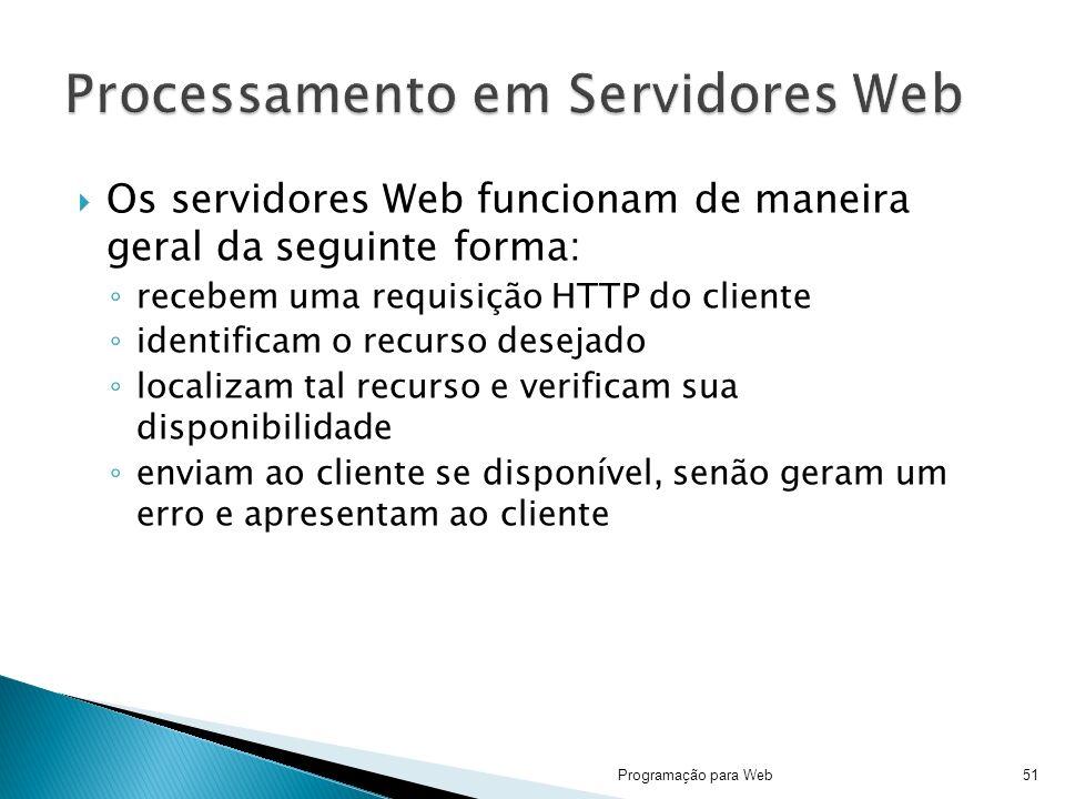 Os servidores Web funcionam de maneira geral da seguinte forma: recebem uma requisição HTTP do cliente identificam o recurso desejado localizam tal recurso e verificam sua disponibilidade enviam ao cliente se disponível, senão geram um erro e apresentam ao cliente Programação para Web51