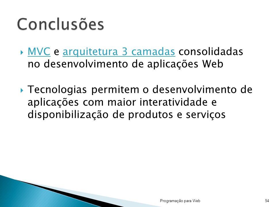 MVC e arquitetura 3 camadas consolidadas no desenvolvimento de aplicações Web Tecnologias permitem o desenvolvimento de aplicações com maior interatividade e disponibilização de produtos e serviços Programação para Web54