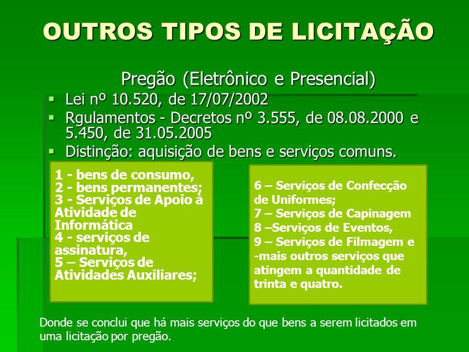 OUTROS TIPOS DE LICITAÇÃO Pregão (Eletrônico e Presencial) Lei nº 10.520, de 17/07/2002 Lei nº 10.520, de 17/07/2002 Rgulamentos - Decretos nº 3.555,