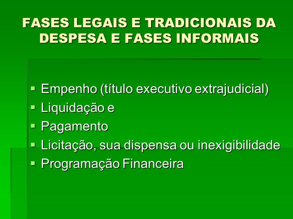 FASES LEGAIS E TRADICIONAIS DA DESPESA E FASES INFORMAIS Empenho (título executivo extrajudicial) Empenho (título executivo extrajudicial) Liquidação