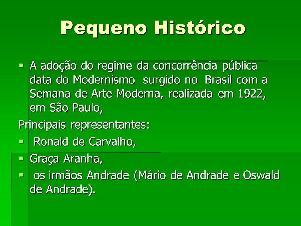 Pequeno Histórico A adoção do regime da concorrência pública data do Modernismo surgido no Brasil com a Semana de Arte Moderna, realizada em 1922, em