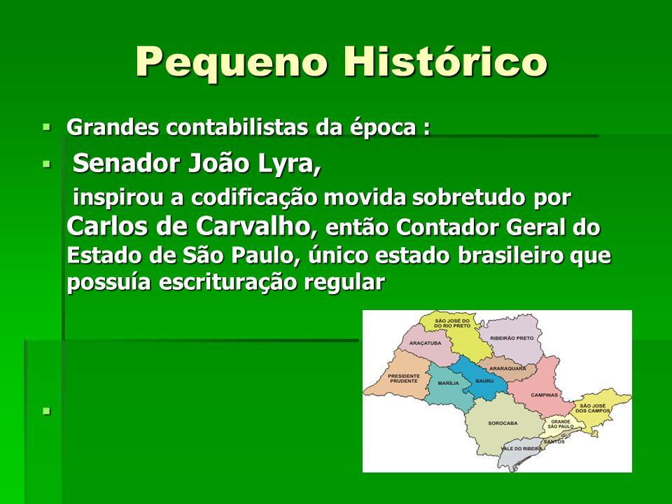 Pequeno Histórico Grandes contabilistas da época : Grandes contabilistas da época : Senador João Lyra, Senador João Lyra, inspirou a codificação movid