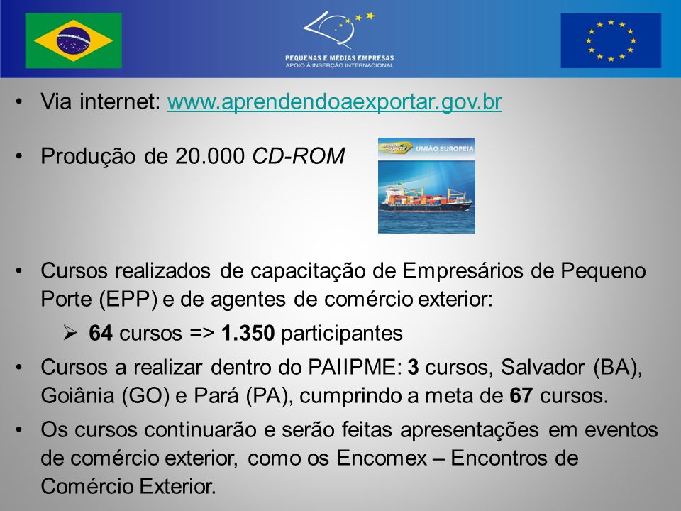 Via internet: www.aprendendoaexportar.gov.brwww.aprendendoaexportar.gov.br Produção de 20.000 CD-ROM Cursos realizados de capacitação de Empresários d