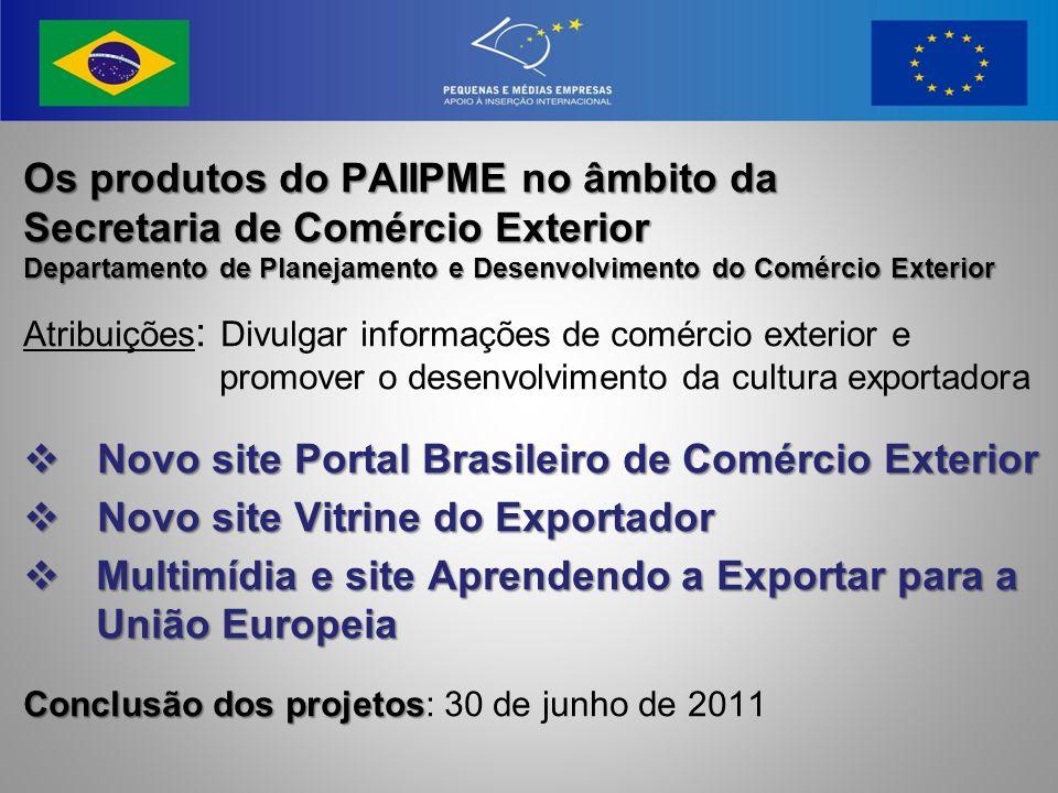 Os produtos do PAIIPME no âmbito da Secretaria de Comércio Exterior Departamento de Planejamento e Desenvolvimento do Comércio Exterior Atribuições :