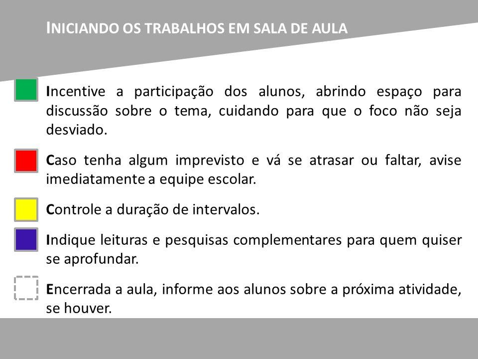I NICIANDO OS TRABALHOS EM SALA DE AULA Incentive a participação dos alunos, abrindo espaço para discussão sobre o tema, cuidando para que o foco não