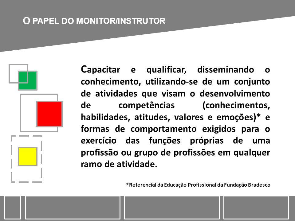 O PAPEL DO MONITOR/INSTRUTOR C apacitar e qualificar, disseminando o conhecimento, utilizando-se de um conjunto de atividades que visam o desenvolvime