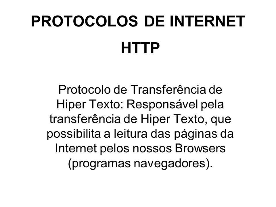 PROTOCOLOS DE INTERNET TCP/IP TCP (Protocolo de Controle de Transmissão): Protocolo responsável pelo empacotamento dos dados na origem para possibilitar sua transmissão e pelo desempacotamento dos dados no local de chegada dos dados.
