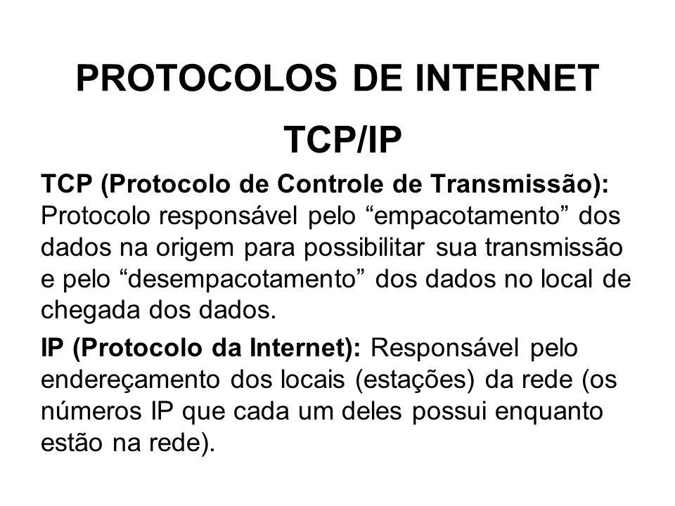 PROTOCOLOS DE INTERNET TCP/IP TCP (Protocolo de Controle de Transmissão): Protocolo responsável pelo empacotamento dos dados na origem para possibilit