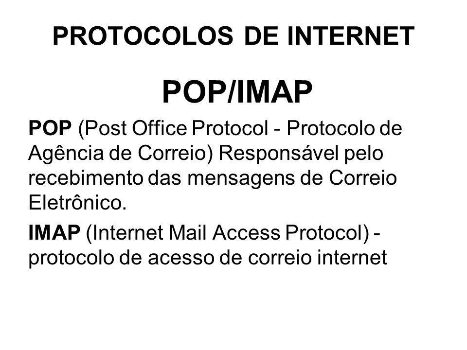 PROTOCOLOS DE INTERNET SMTP Protocolo de Transferência de Correio Simples - Responsável pelo Envio das mensagens de Correio Eletrônico.