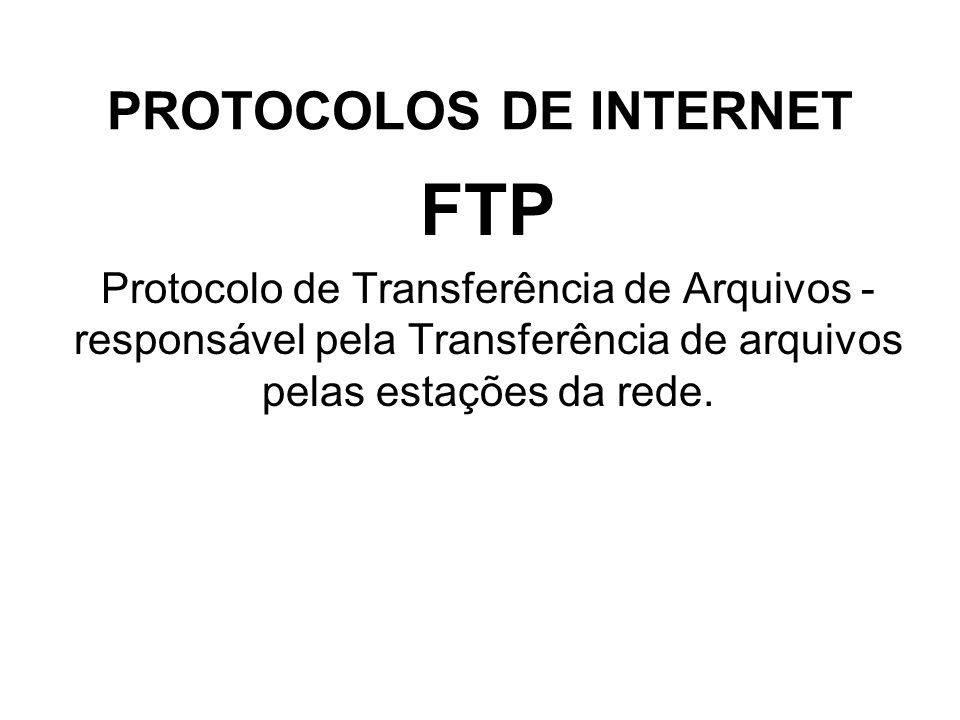 PROTOCOLOS DE INTERNET FTP Protocolo de Transferência de Arquivos - responsável pela Transferência de arquivos pelas estações da rede.