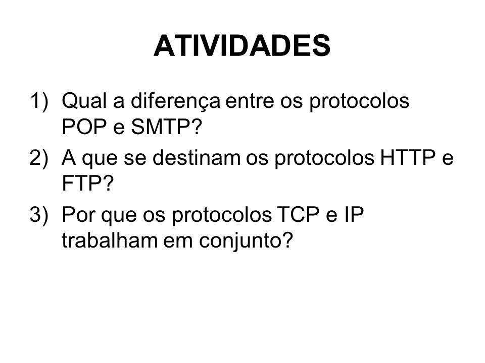 ATIVIDADES 1)Qual a diferença entre os protocolos POP e SMTP? 2)A que se destinam os protocolos HTTP e FTP? 3)Por que os protocolos TCP e IP trabalham