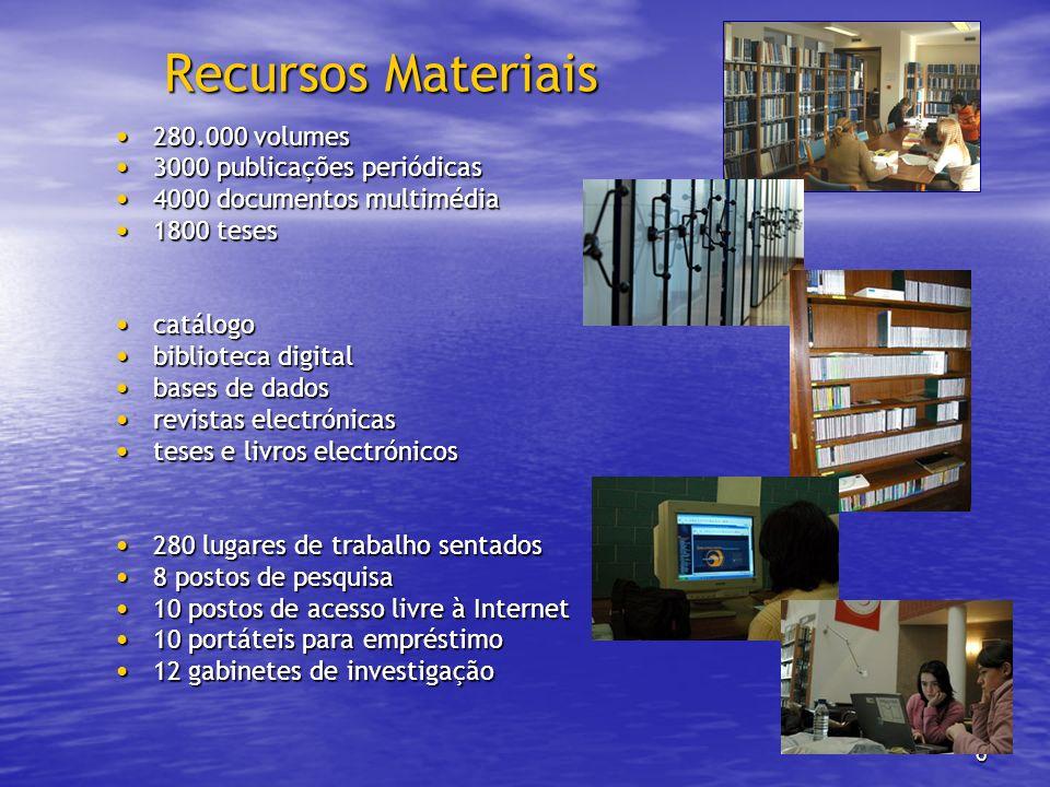 6 Recursos Materiais 280.000 volumes 280.000 volumes 3000 publicações periódicas 3000 publicações periódicas 4000 documentos multimédia 4000 documento
