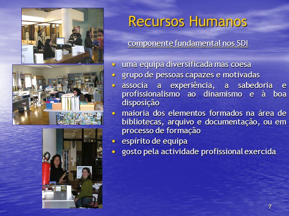 7 Recursos Humanos componente fundamental nos SDI componente fundamental nos SDI uma equipa diversificada mas coesa uma equipa diversificada mas coesa