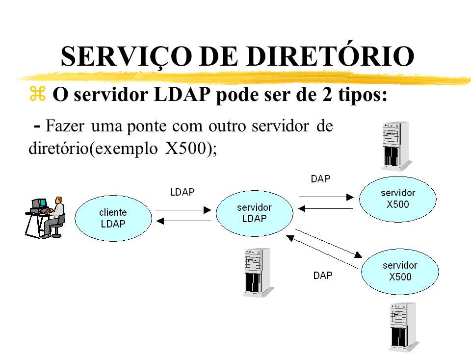 SERVIÇO DE DIRETÓRIO z O servidor LDAP pode ser de 2 tipos: - Fazer uma ponte com outro servidor de diretório(exemplo X500);