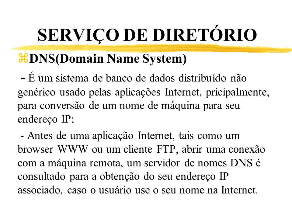 SERVIÇO DE DIRETÓRIO zDNS(Domain Name System) - É um sistema de banco de dados distribuído não genérico usado pelas aplicações Internet, pricipalmente