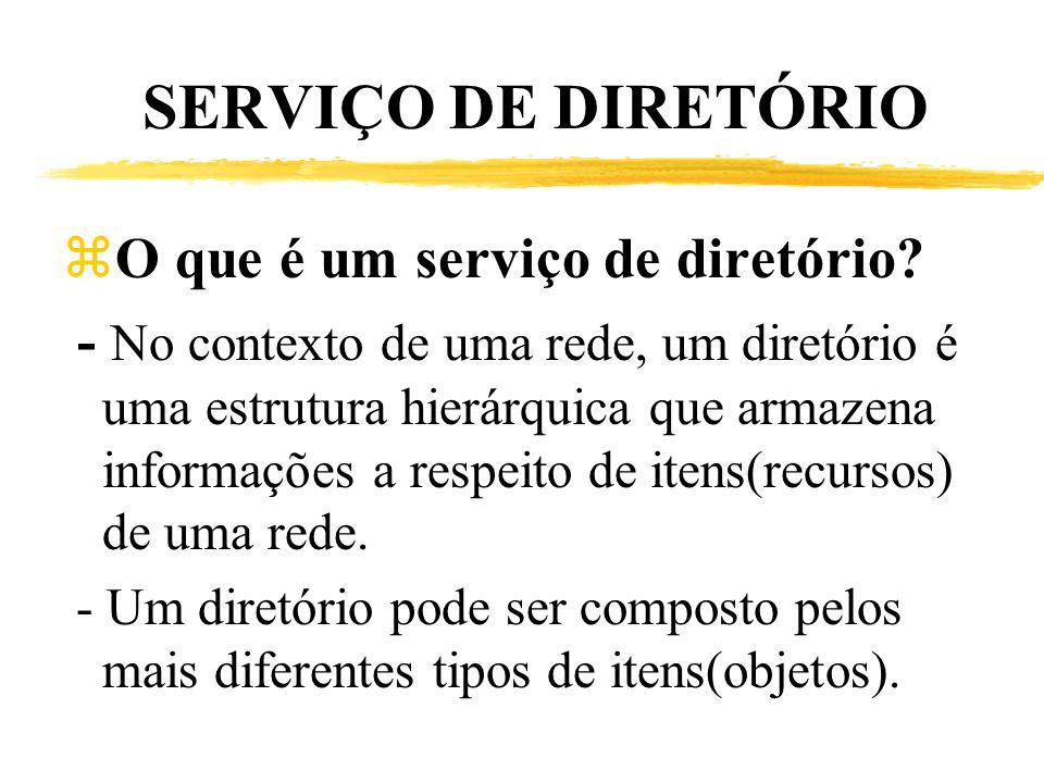 SERVIÇO DE DIRETÓRIO zO que é um serviço de diretório? - No contexto de uma rede, um diretório é uma estrutura hierárquica que armazena informações a