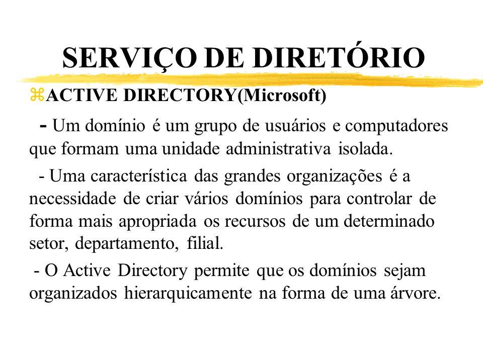SERVIÇO DE DIRETÓRIO zACTIVE DIRECTORY(Microsoft) - Um domínio é um grupo de usuários e computadores que formam uma unidade administrativa isolada. -