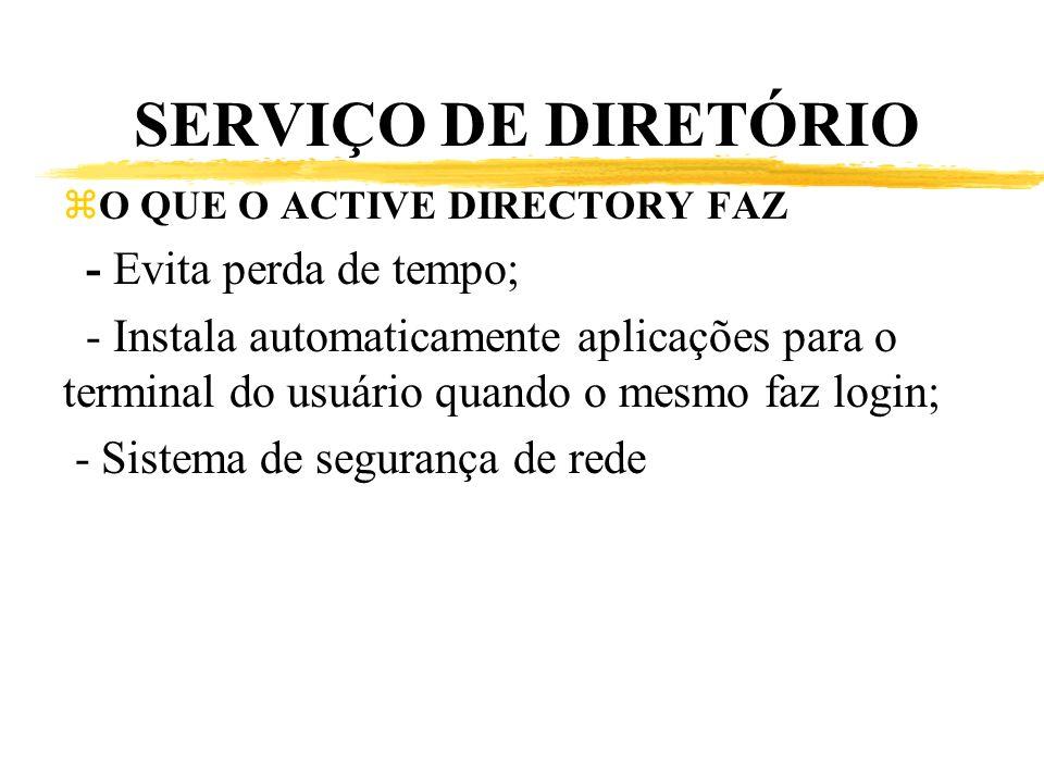 SERVIÇO DE DIRETÓRIO zO QUE O ACTIVE DIRECTORY FAZ - Evita perda de tempo; - Instala automaticamente aplicações para o terminal do usuário quando o me