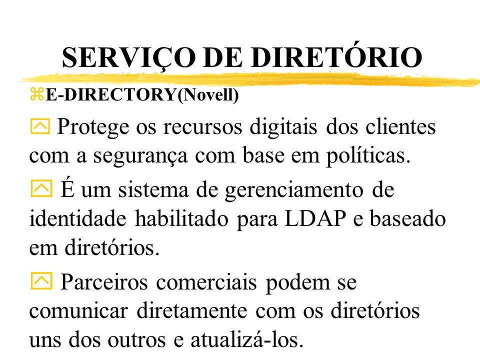 SERVIÇO DE DIRETÓRIO zE-DIRECTORY(Novell) y Protege os recursos digitais dos clientes com a segurança com base em políticas. y É um sistema de gerenci