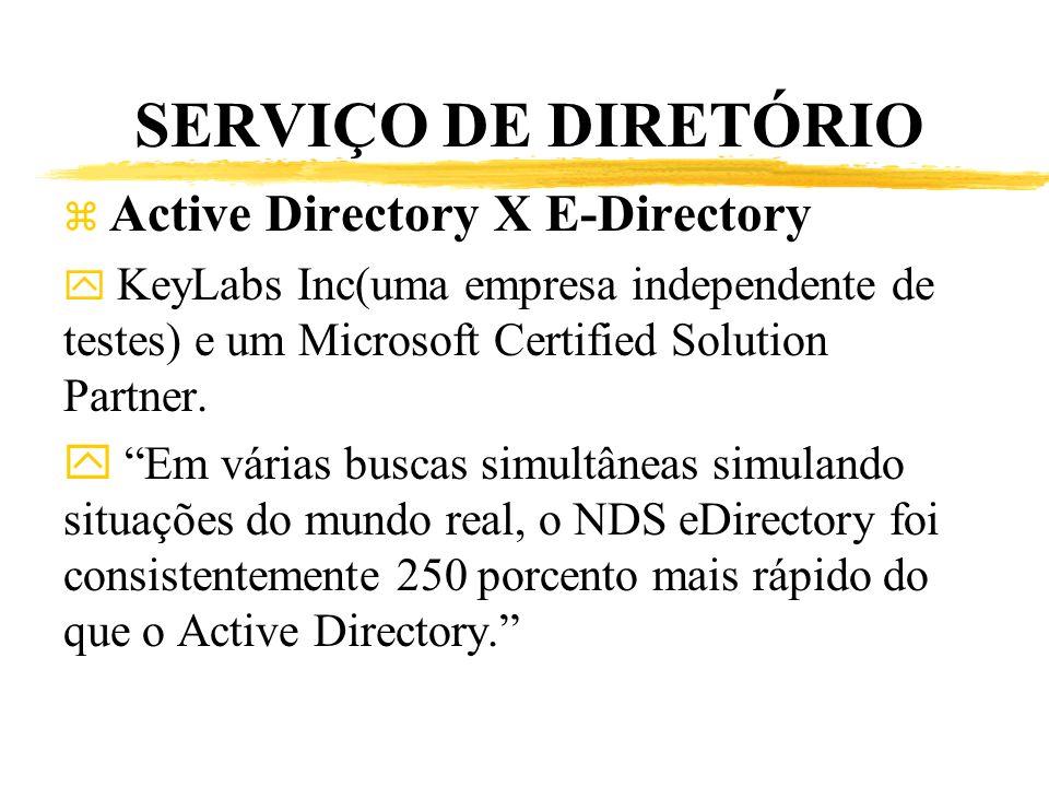 SERVIÇO DE DIRETÓRIO z Active Directory X E-Directory y KeyLabs Inc(uma empresa independente de testes) e um Microsoft Certified Solution Partner. y E