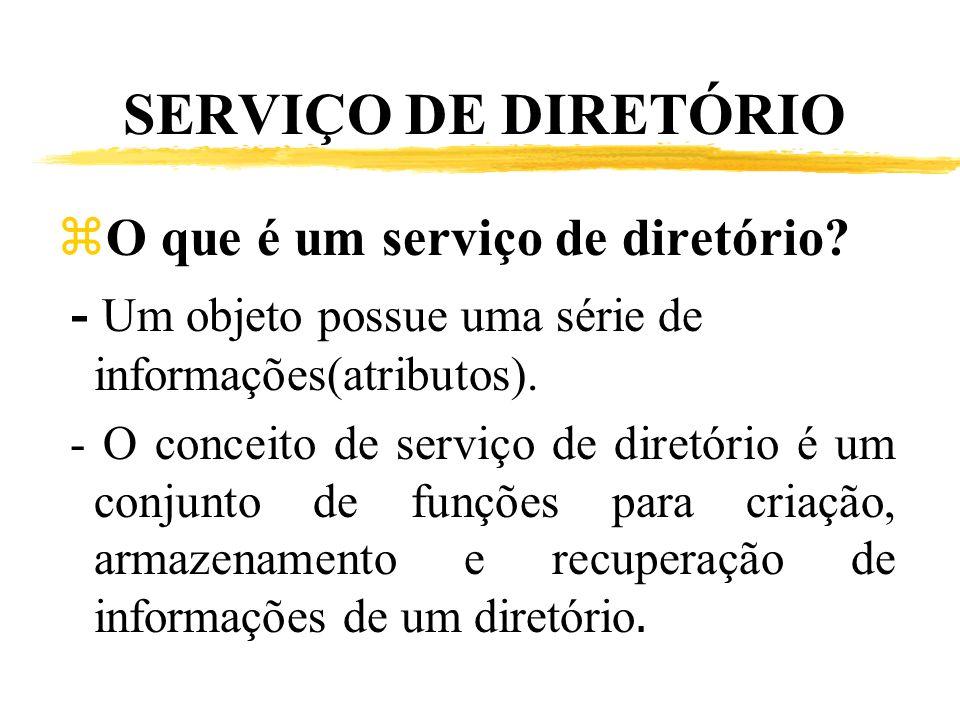SERVIÇO DE DIRETÓRIO zO que é um serviço de diretório? - Um objeto possue uma série de informações(atributos). - O conceito de serviço de diretório é