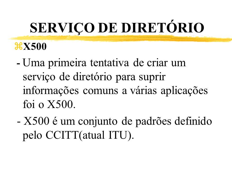 SERVIÇO DE DIRETÓRIO zX500 - Uma primeira tentativa de criar um serviço de diretório para suprir informações comuns a várias aplicações foi o X500. -