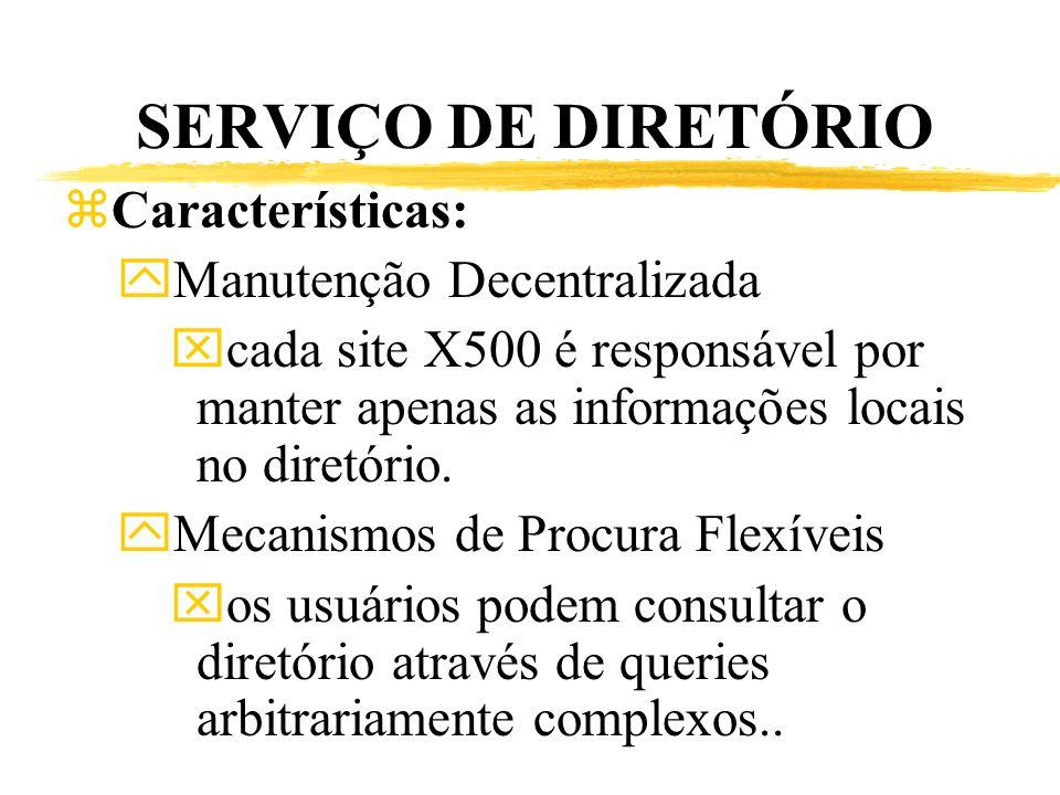 SERVIÇO DE DIRETÓRIO zCaracterísticas: yManutenção Decentralizada xcada site X500 é responsável por manter apenas as informações locais no diretório.