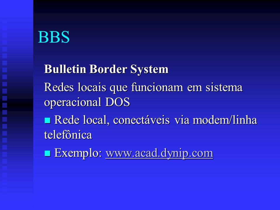 BBS Bulletin Border System Redes locais que funcionam em sistema operacional DOS Rede local, conectáveis via modem/linha telefônica Rede local, conectáveis via modem/linha telefônica Exemplo: www.acad.dynip.com Exemplo: www.acad.dynip.comwww.acad.dynip.com