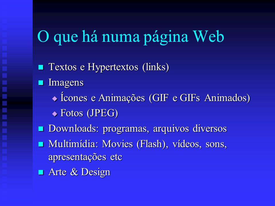 O que há numa página Web Textos e Hypertextos (links) Textos e Hypertextos (links) Imagens Imagens Ícones e Animações (GIF e GIFs Animados) Ícones e Animações (GIF e GIFs Animados) Fotos (JPEG) Fotos (JPEG) Downloads: programas, arquivos diversos Downloads: programas, arquivos diversos Multimídia: Movies (Flash), vídeos, sons, apresentações etc Multimídia: Movies (Flash), vídeos, sons, apresentações etc Arte & Design Arte & Design