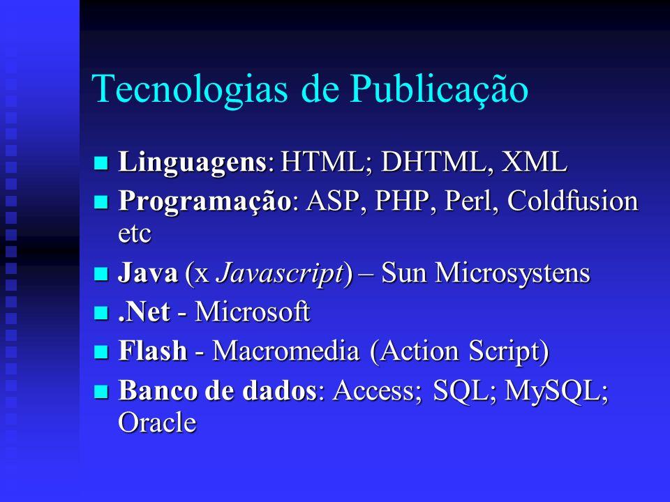 Tecnologias de Publicação Linguagens: HTML; DHTML, XML Linguagens: HTML; DHTML, XML Programação: ASP, PHP, Perl, Coldfusion etc Programação: ASP, PHP, Perl, Coldfusion etc Java (x Javascript) – Sun Microsystens Java (x Javascript) – Sun Microsystens.Net - Microsoft.Net - Microsoft Flash - Macromedia (Action Script) Flash - Macromedia (Action Script) Banco de dados: Access; SQL; MySQL; Oracle Banco de dados: Access; SQL; MySQL; Oracle