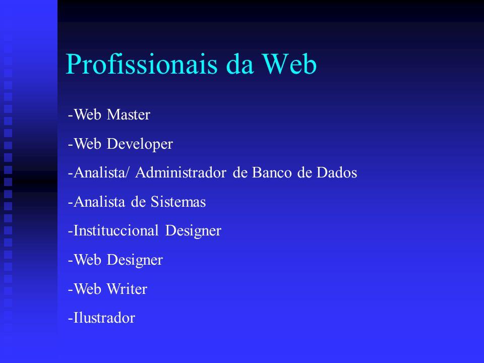 Profissionais da Web -Web Master -Web Developer -Analista/ Administrador de Banco de Dados -Analista de Sistemas -Instituccional Designer -Web Designer -Web Writer -Ilustrador